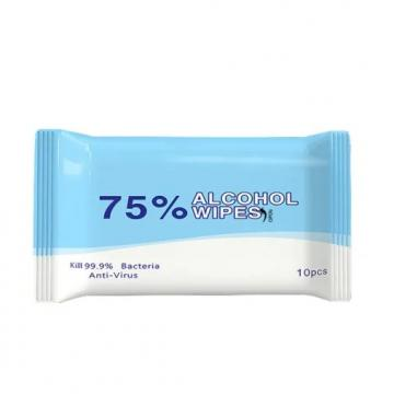 10PCS Packed Hand Cleaning Disinfecting Wet Wipes Alcohol Based Spunlace